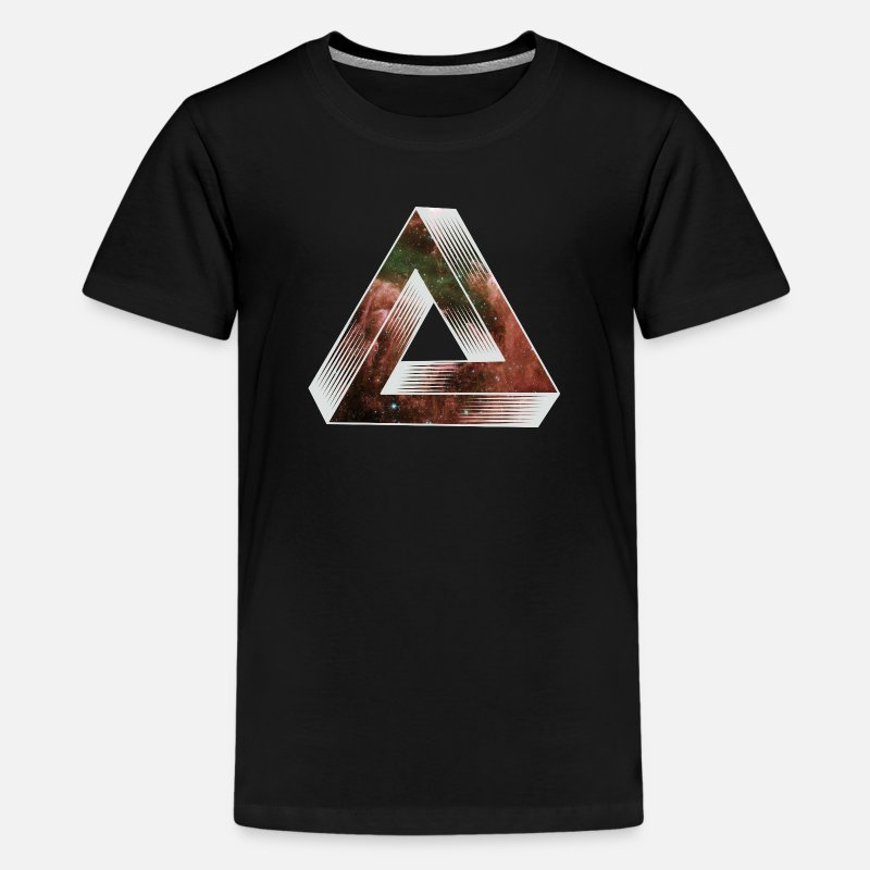 Triangle T-Shirts - Cosmic Impossible Triangle - Teenage Premium T-Shirt black