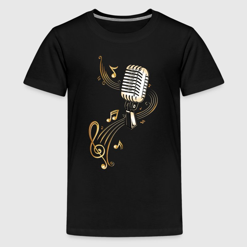 Retro microphone with music notes and clef.  - Teenage Premium T-Shirt
