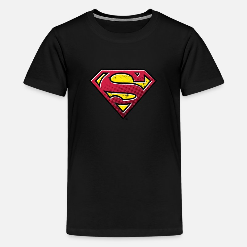 Superman T-Shirts - Superman S-Shield Used Look 2 Teenager T-Shirt - Teenager Premium T-Shirt Schwarz