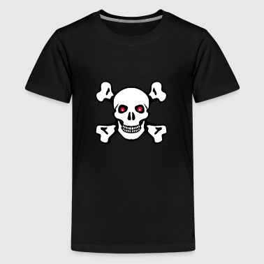 Pirate skull with red eyes - Teenage Premium T-Shirt