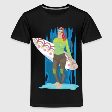Surfer Girl Surfer Girl with surfboard and surfing surfing - Teenage Premium T-Shirt