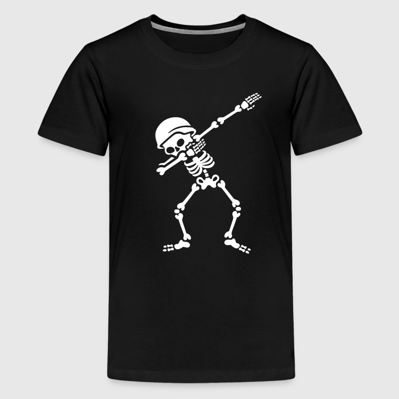 Soldier biker skeleton Dab / Dabbing - Teenage Premium T-Shirt