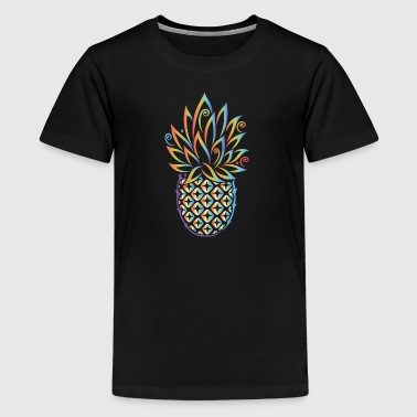 Sød ananas i tatoveringsstil. Sommermotiv.  - Teenager premium T-shirt
