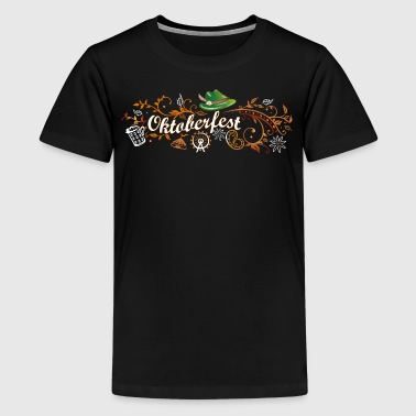 Oktoberfest dekoration med traditionelle elementer - Teenager premium T-shirt