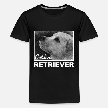 Hund, Golden Retriever, Zeichnung - Teenager Premium T-Shirt