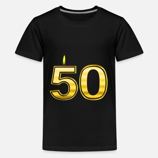 Gold T-Shirts - 50 - Birthday - Queen - Gold - Flame - Teenage Premium T-Shirt black