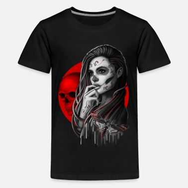 Sugar Skull Girl Hawk-Moth - Teenage Premium T-Shirt