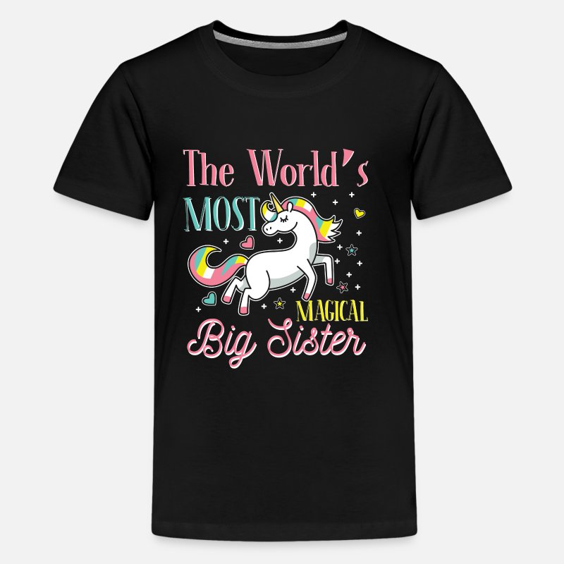 Sister T-Shirts - The World's Most Magical Big Sister - Teenage Premium T-Shirt black