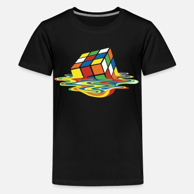 Rubik's Cube Melted Colourful Puddle - Premium T-shirt tonåring
