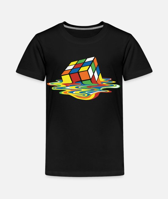 cool T-Shirts - Rubik's Cube Melting Cube - Teenage Premium T-Shirt black