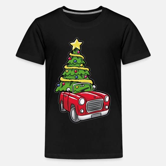 Pastries T-Shirts - Christmas tree Funny transport - Teenage Premium T-Shirt black