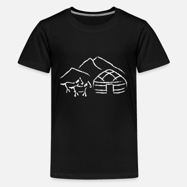 Yurt ontwerpt wit - Teenager premium T-shirt