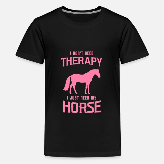 Horse T-Shirts - Horse riding Horse riding Horse riding - Teenage Premium T-Shirt black