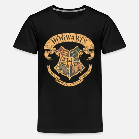 Harry T-Shirts - Harry Potter Hogwarts Wappen - Teenager Premium T-Shirt Schwarz