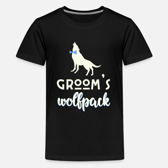 Bride T-Shirts - grooms wolfpack - Teenage Premium T-Shirt black