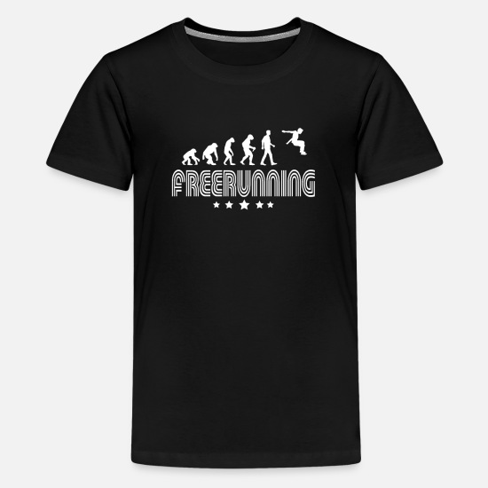 Free Running T-shirts - Evolutie van freerunning - Teenager premium T-shirt zwart