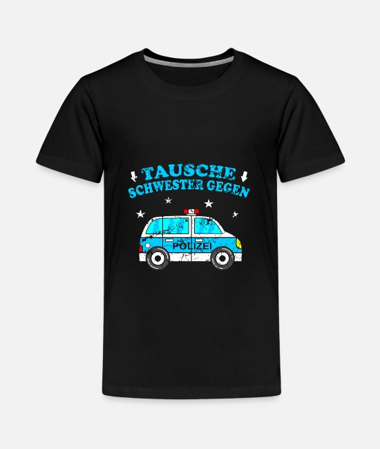 Auto T-Shirts - Lustiges Kinder Shirt Polizei Auto - Teenager Premium T-Shirt Schwarz