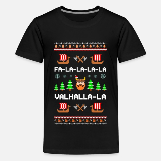 Viking T-shirts - Valhalla Viking Ugly Xmas Sweater - T-shirt premium Ado noir