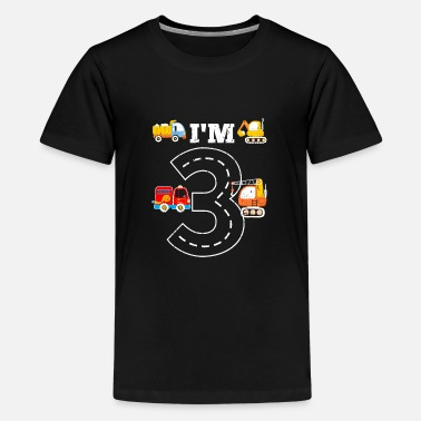Age I'm 3 boys birthday design with fire department - Teenage Premium T-Shirt