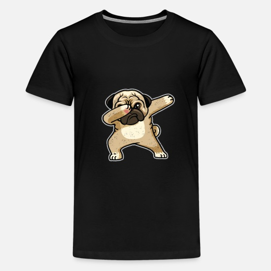 Pug T-Shirts - Cute Dabbing Pug Dog Lover T-shirt - Teenage Premium T-Shirt black