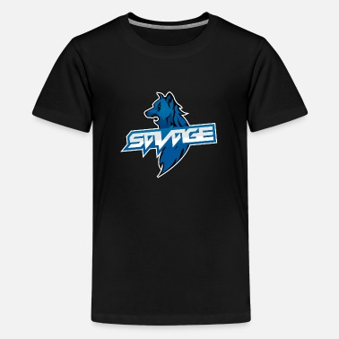 Blaues Logo Savage Wolf - Teenager Premium T-Shirt