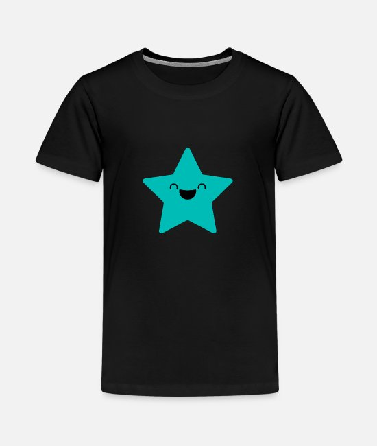 Gift T-shirts - SWEET STAR - Laughing Star in cyaan - Teenager premium T-shirt zwart