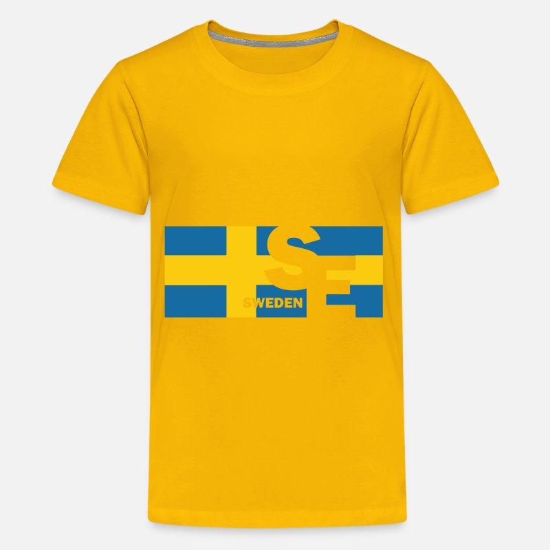 Svensk flagg svensk gave Tenårings premium T skjorte
