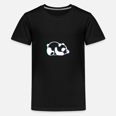 Anaglyph Lazy Panda Cute 3D Anaglyph Retro Vintage - Teenage Premium T-Shirt