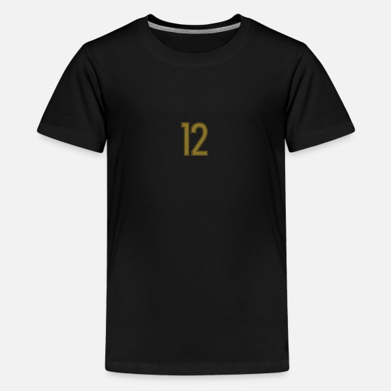 Twelve T-Shirts - 12, Zwölf, Twelve, Douze, Doce, Pelibol ™ - Teenage Premium T-Shirt black
