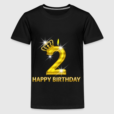 2-happy birthday - verjaardag - nummer goud - Teenager Premium T-shirt