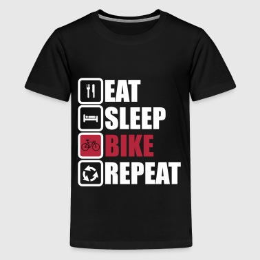 eat sleep bike repeat cycling shirt - Teenage Premium T-Shirt