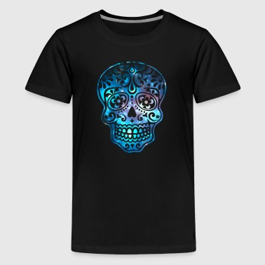 Sugar Skull, Space, Galaxy Style, Cosmic - Teenage Premium T-Shirt