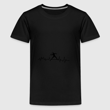 Heartbeat athlete t-shirt gift throwing spear - Teenage Premium T-Shirt