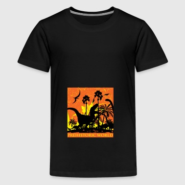 dinosaur volcanic eruption - Teenage Premium T-Shirt