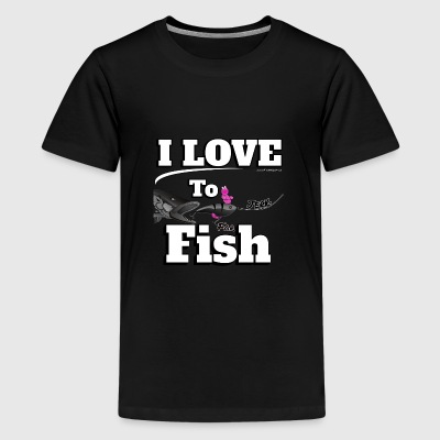 I love to Jerk - Jerk Fish Angeln - Fishyworm - Teenager Premium T-Shirt