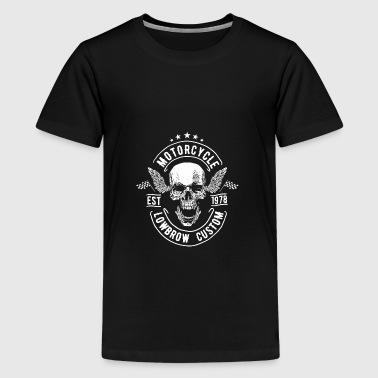 LOWBROW CUSTOM - skull motorcycle gift motif - Teenage Premium T-Shirt