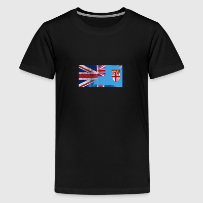 British Fijian Fiji Half Half UK Flag - Premium T-skjorte for tenåringer