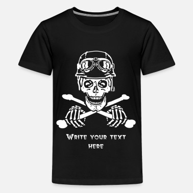 Rat Bike Biker Skull with Open Face Helmet and Goggles - Teenage Premium T-Shirt