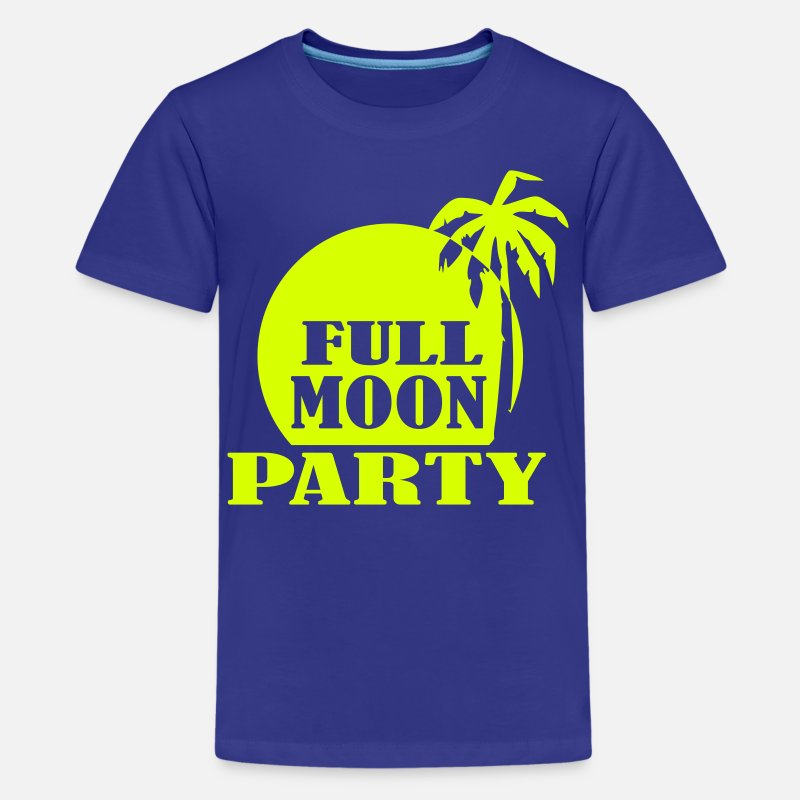 Moon Camisetas - Full Moon Party - Camiseta premium adolescente azul real