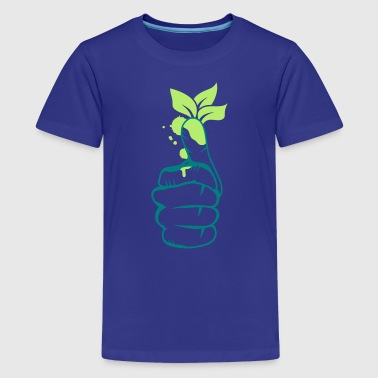 A hand with green leaves on the thumb - Teenage Premium T-Shirt