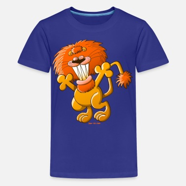Lion Eating Cool Lion - Teenage Premium T-Shirt