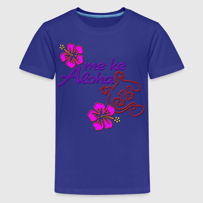 Me Ke Aloha - Gecko Hibiscus colored - Teenager Premium T-Shirt