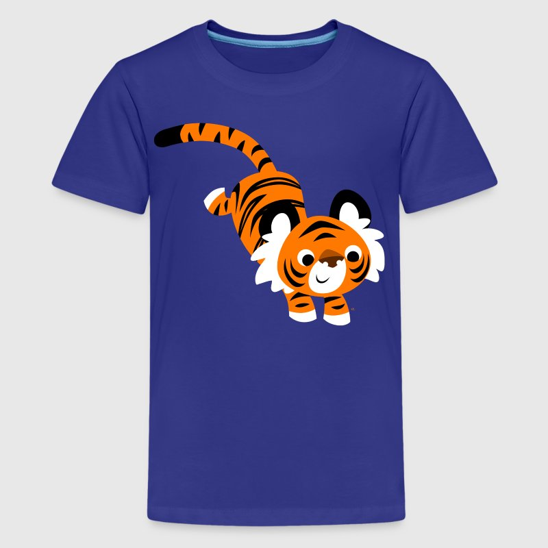 Cute Jumping Cartoon Tiger by Cheerful Madness!! - Teenage Premium T-Shirt