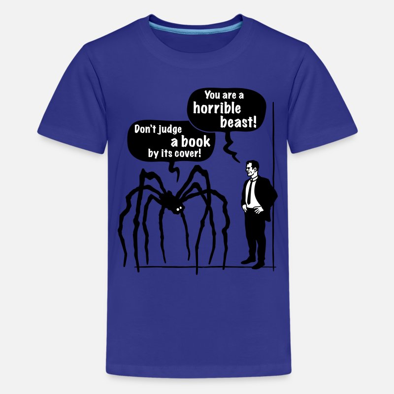 Psychology T-Shirts - Cartoon: Horrible Beast / Don't judge a book by its cover! - Teenage Premium T-Shirt royal blue