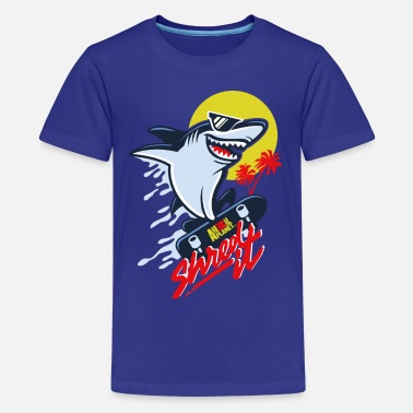 Skolstart Animal Planet Humour Cool Skateboarding Shark - Premium-T-shirt tonåring