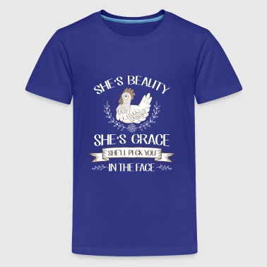 She's Beauty She's Grace Peck you in the face - Camiseta premium adolescente