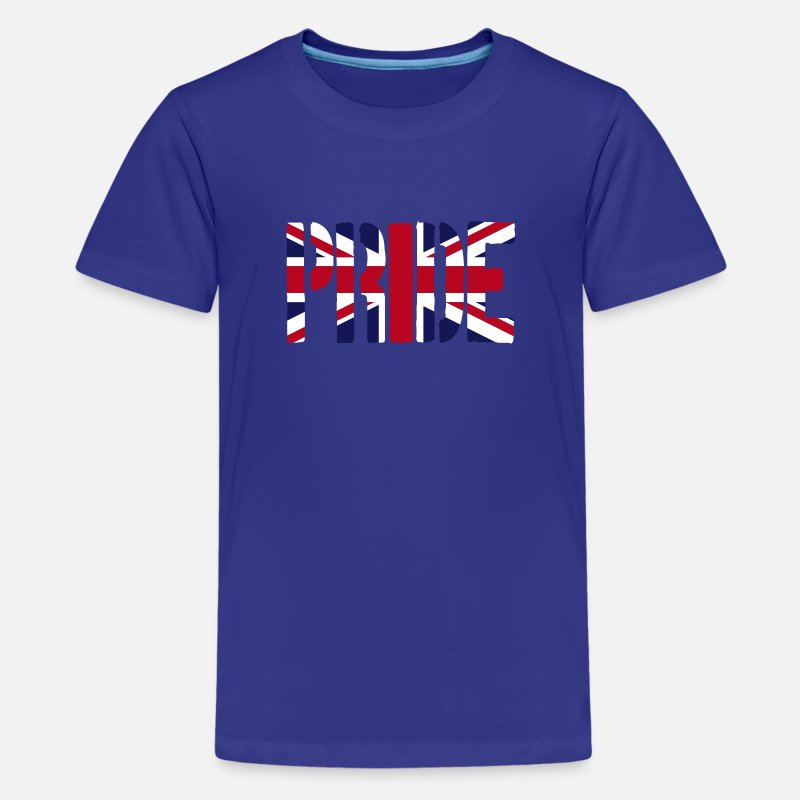 British T-Shirts - PRIDE, Britain Flag, British Flag, Union Jack, UK Flag - Teenage Premium T-Shirt royal blue