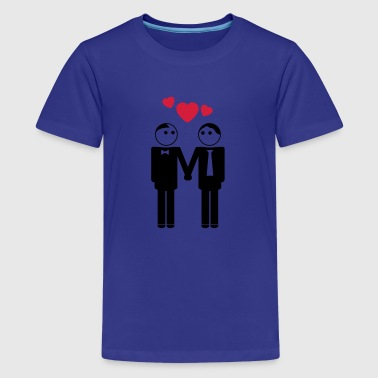 gay couple / couple in love hearts 2c - Teenage Premium T-Shirt