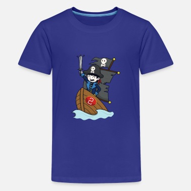 Pirate on pirate ship - number 2nd birthday - Teenage Premium T-Shirt