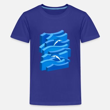 Waves & Dolphins (3D) - Teenage Premium T-Shirt